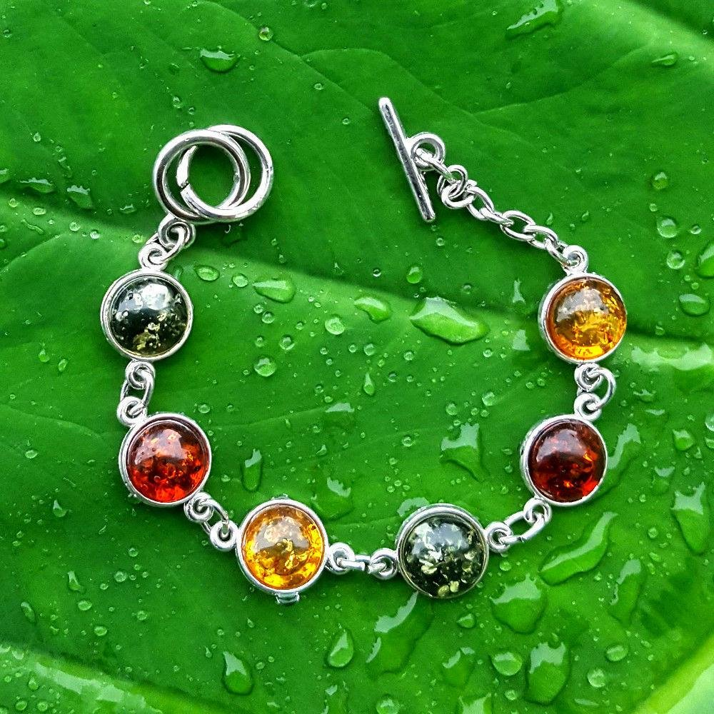 BALTIC AMBER GEMSTONE SILVER PLATED MULTICOLOR BRACELET