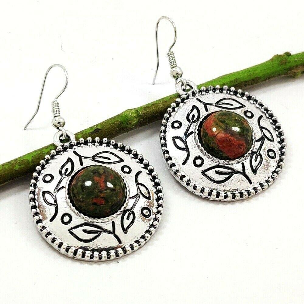 RUBY ZOSITE GEMSTONE SILVER PLATED EARRING