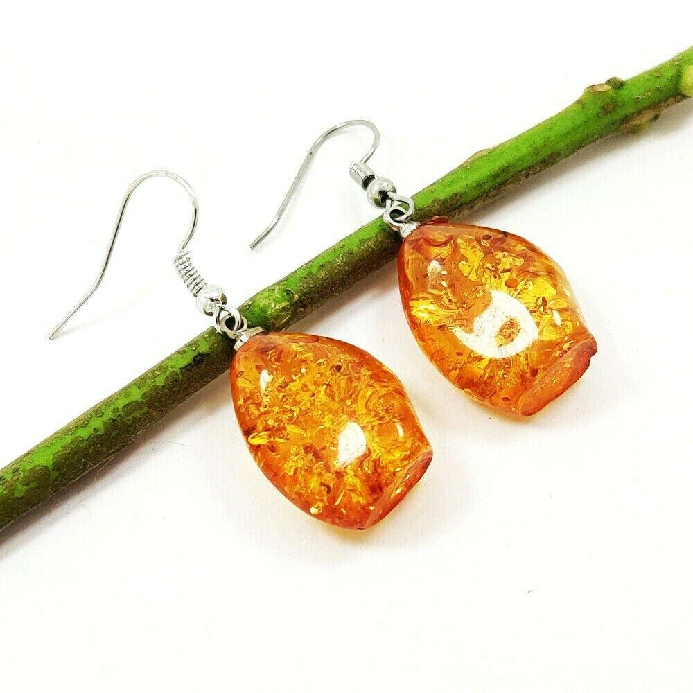 BALTIC AMBER GEMSTONE SILVER PLATED EARRING