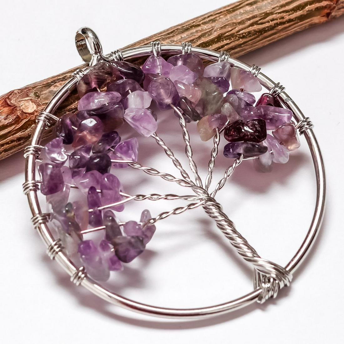 AMETHYST GEMSTONE TREE OF LIFE CHARM SILVER PLATED