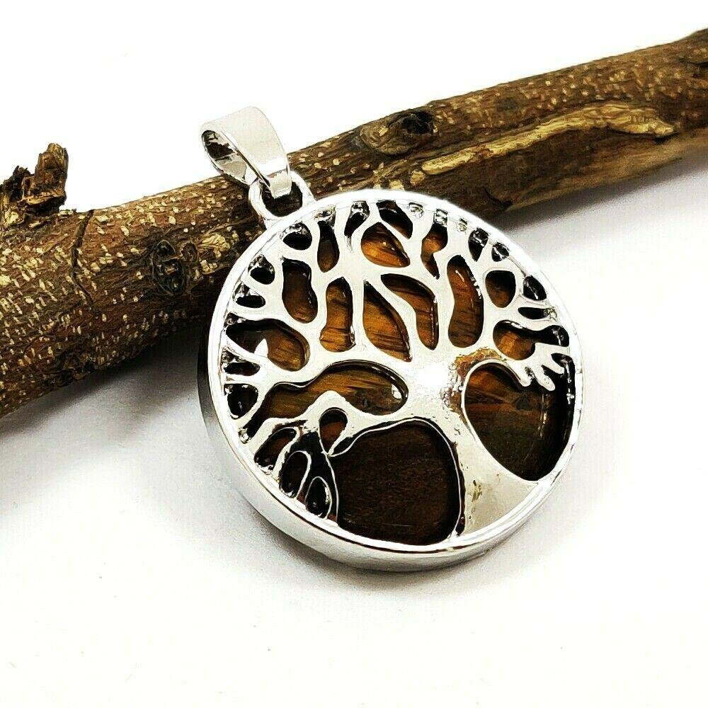 TIGER'S EYE GEMSTONE TREE OF LIFE SILVER PLATED PENDANT