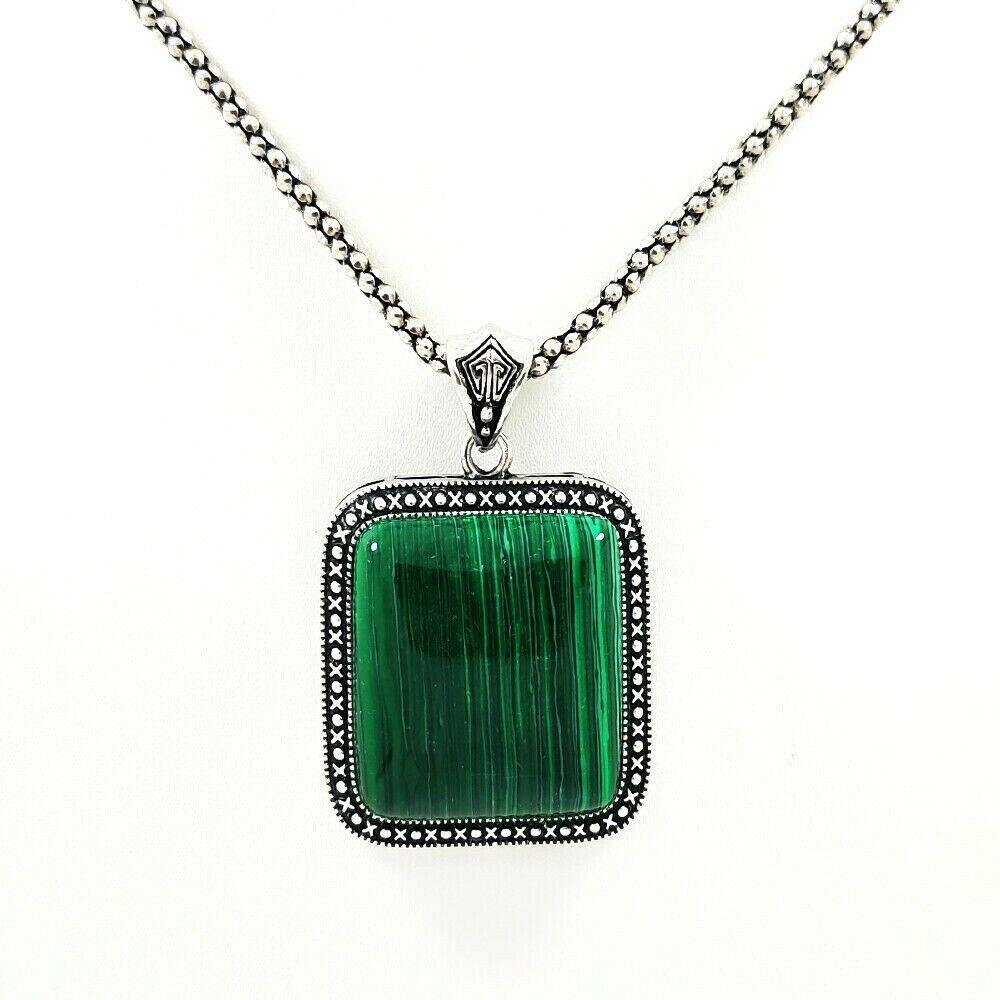 """MALACHITE GEMSTONE SILVER PLATED PENDANT 2"""" WITH CHAIN"""