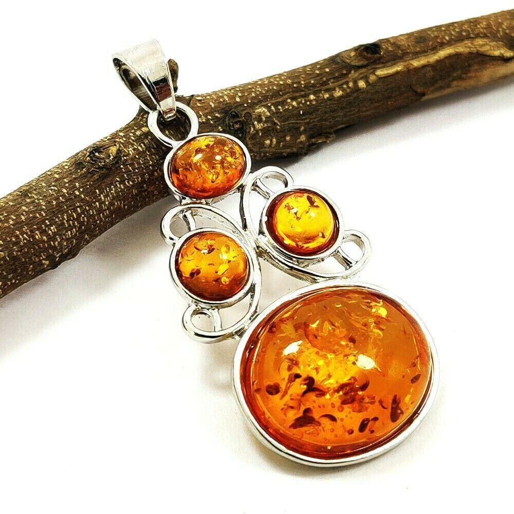 BALTIC AMBER GEMSTONE SILVER PLATED PENDANT JEWELRY 2""