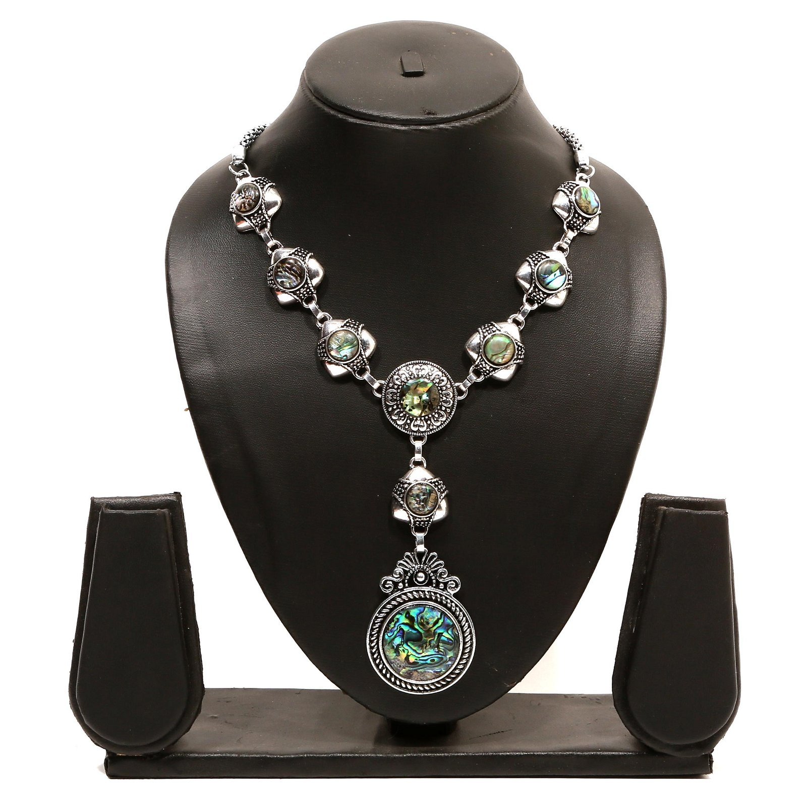 Abalone Shell Gemstone Silver Plated Necklace