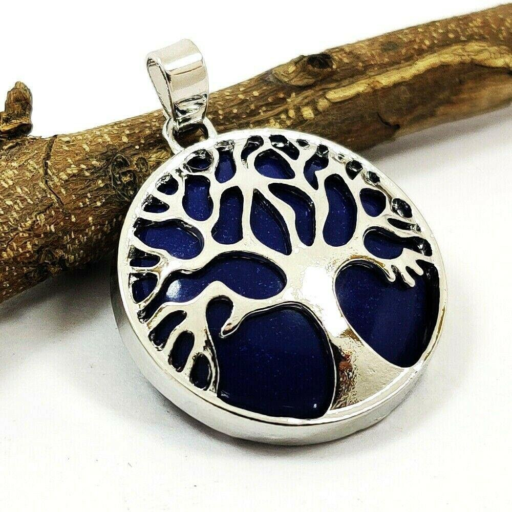 LAPIS LAZULI GEMSTONE TREE OF LIFE SILVER PLATED