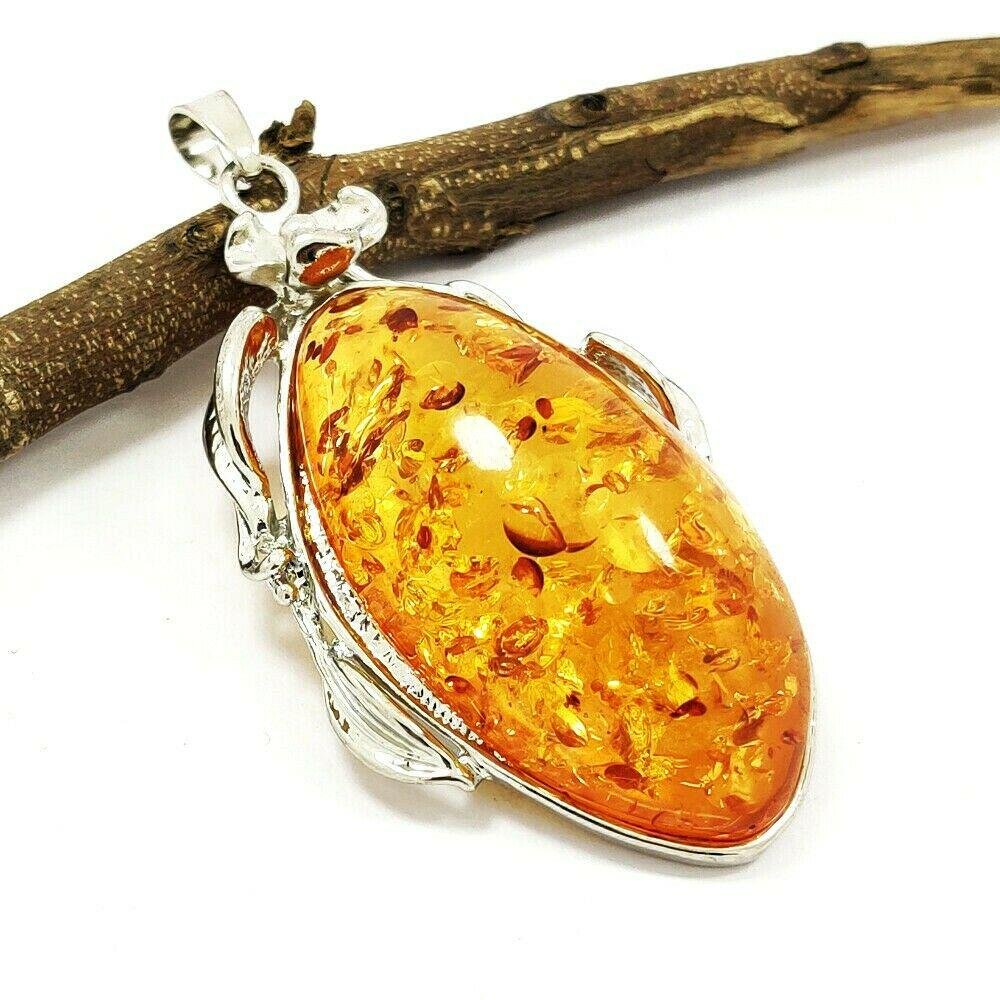 BALTIC AMBER GEMSTONE SILVER PLATED PENDANT JEWELRY 3""