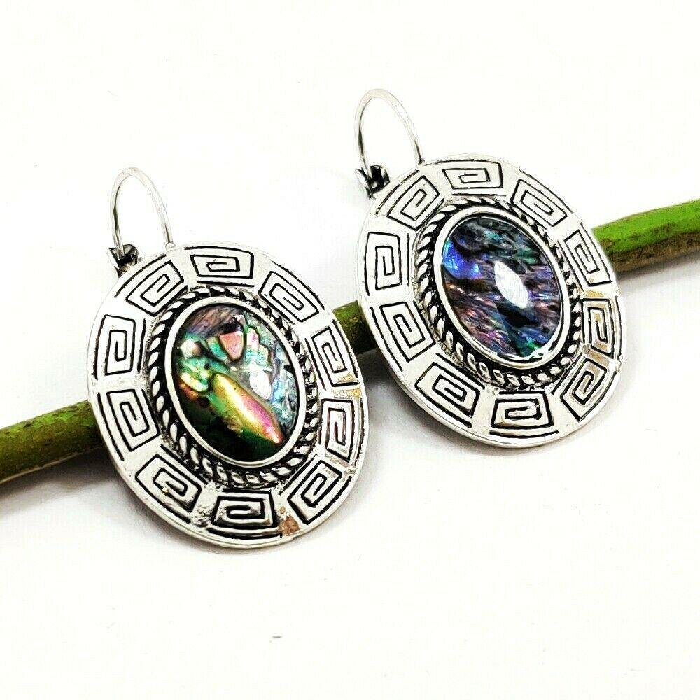 ABALONE SHELL GEMSTONE SILVER PLATED EARRING