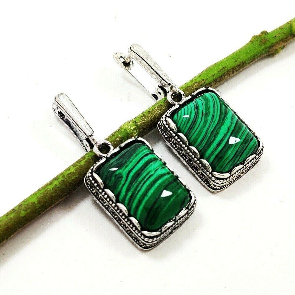 MALACHITE GEMSTONE SILVER PLATED EARRING
