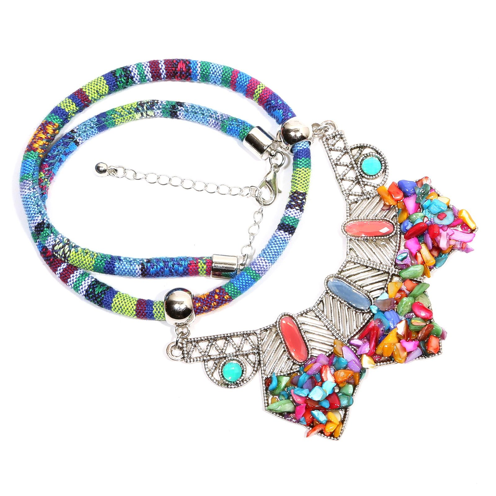 Multicolored Gemstone Silver Plated Necklace