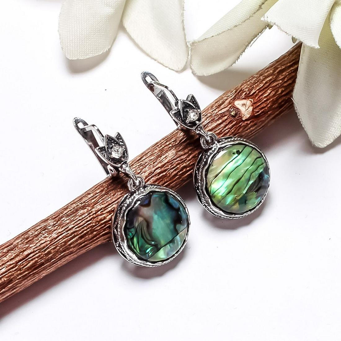 ABALONE SHELL GEMSTONE SILVER PLATED LEVER BACK