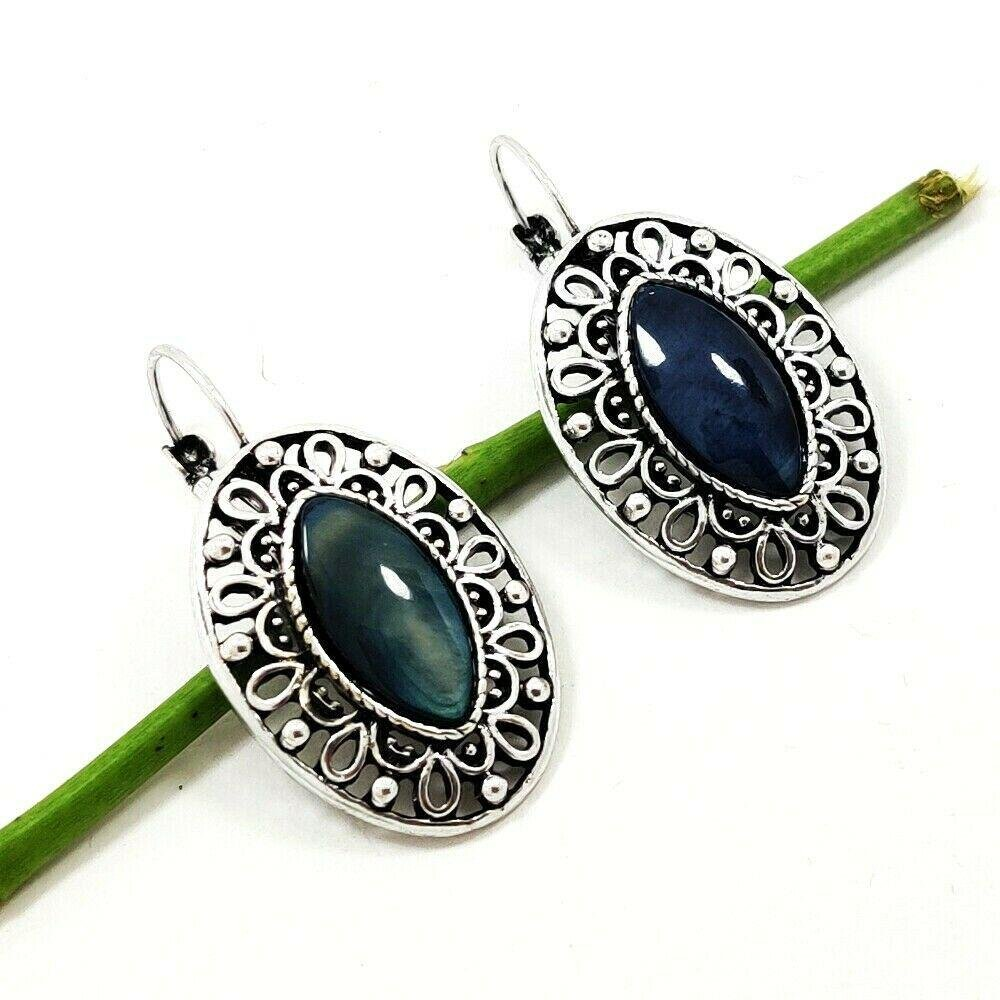 LABRADORITE GEMSTONE SILVER PLATED EARRING