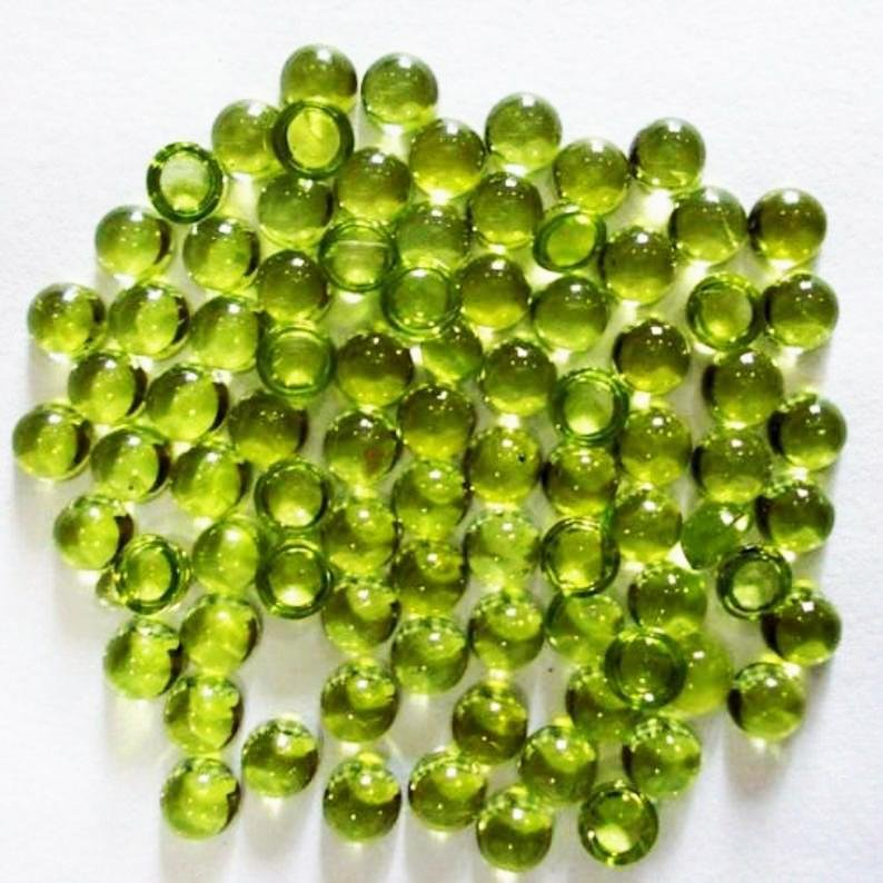 Natural Green Peridot 3 MM Round Cabochon Loose
