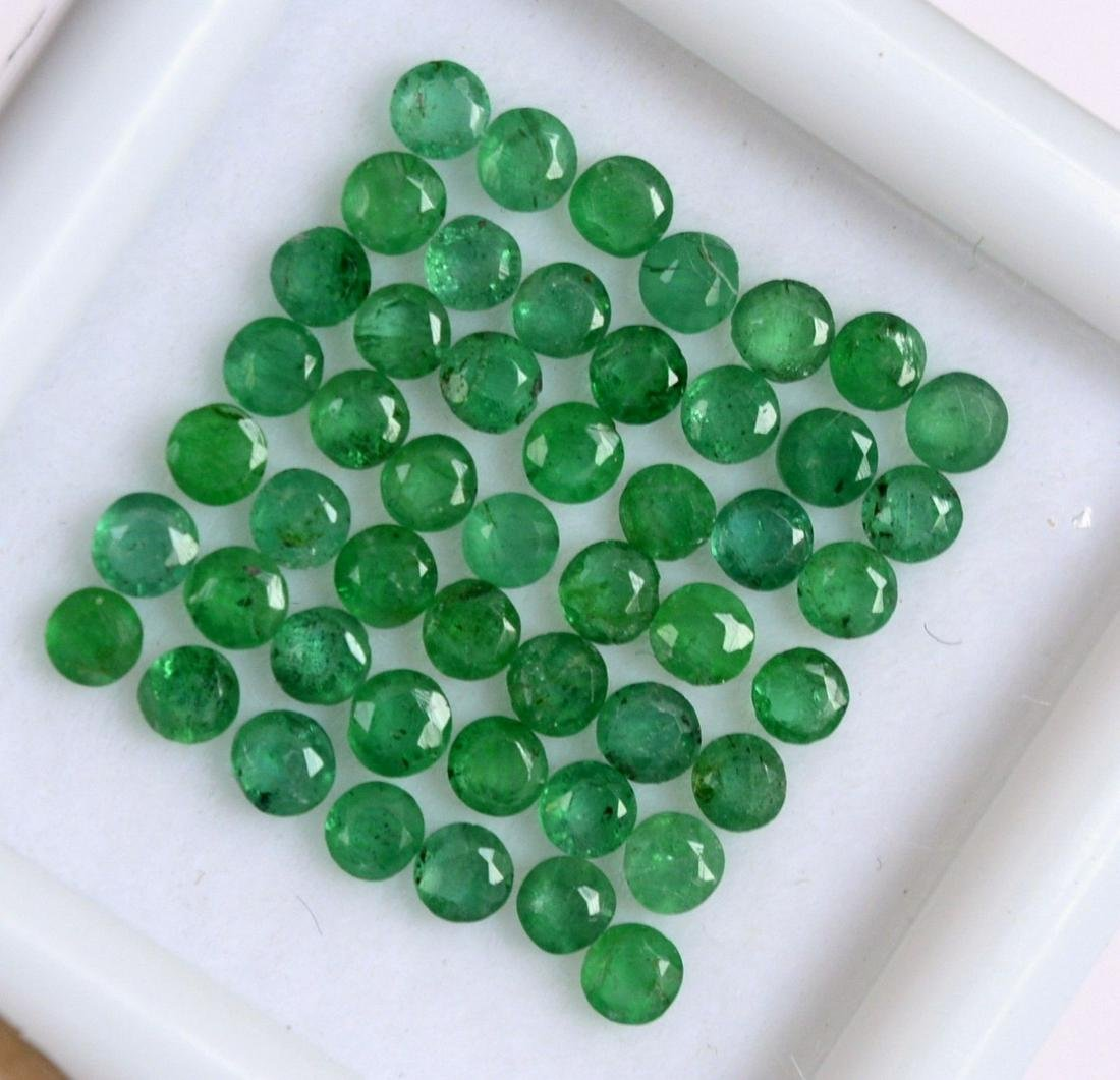 Natural Emerald 2 MM Round Cut Green Loose Gemstone Lot