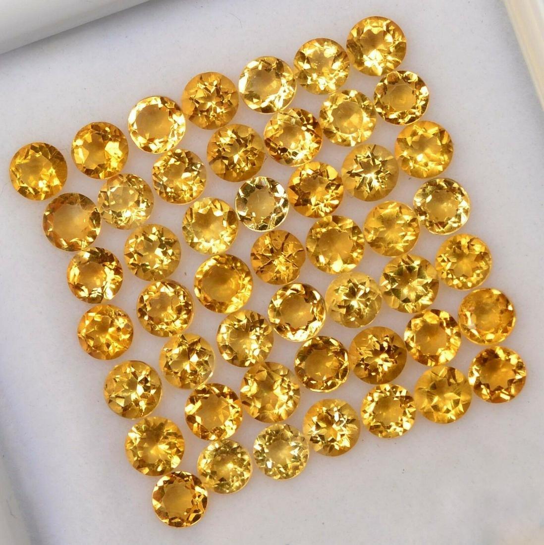 Natural Yellow Citrine 3 MM Round Cut Loose Gemstone