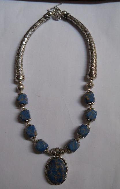 89.420g  Necklace of Lapis Made in German Silver