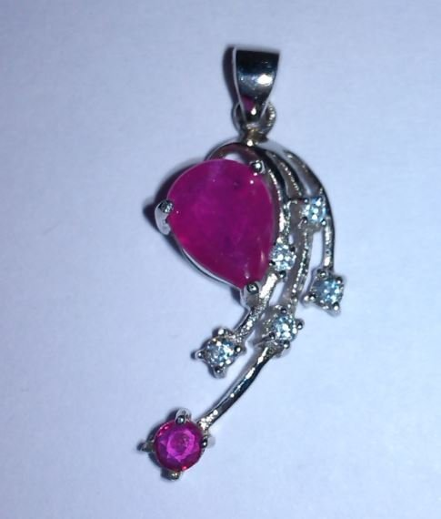 1.790g Pendant of Ruby and CZ Sterling 925 Silver