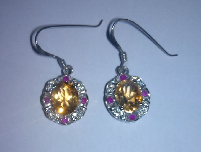 6.040g Earring of Citrine, Ruby and CZ Sterling 925
