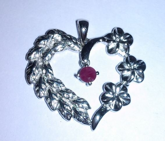 3.690g Pendant of Ruby Sterling 925 Silver