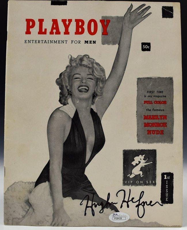 1953 Playboy Monroe  Magazine Signed Hugh Hefner