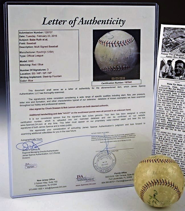 Babe Ruth Signed Home Run Baseball - 2