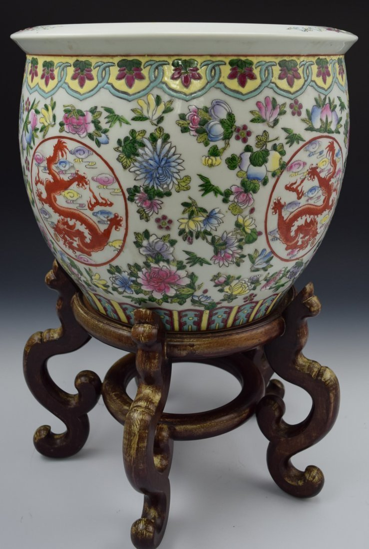 Chinese Famille Rose Dragon Mofif Fish Bowl