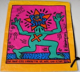 Keith Haring Signed Pop Shop Bag