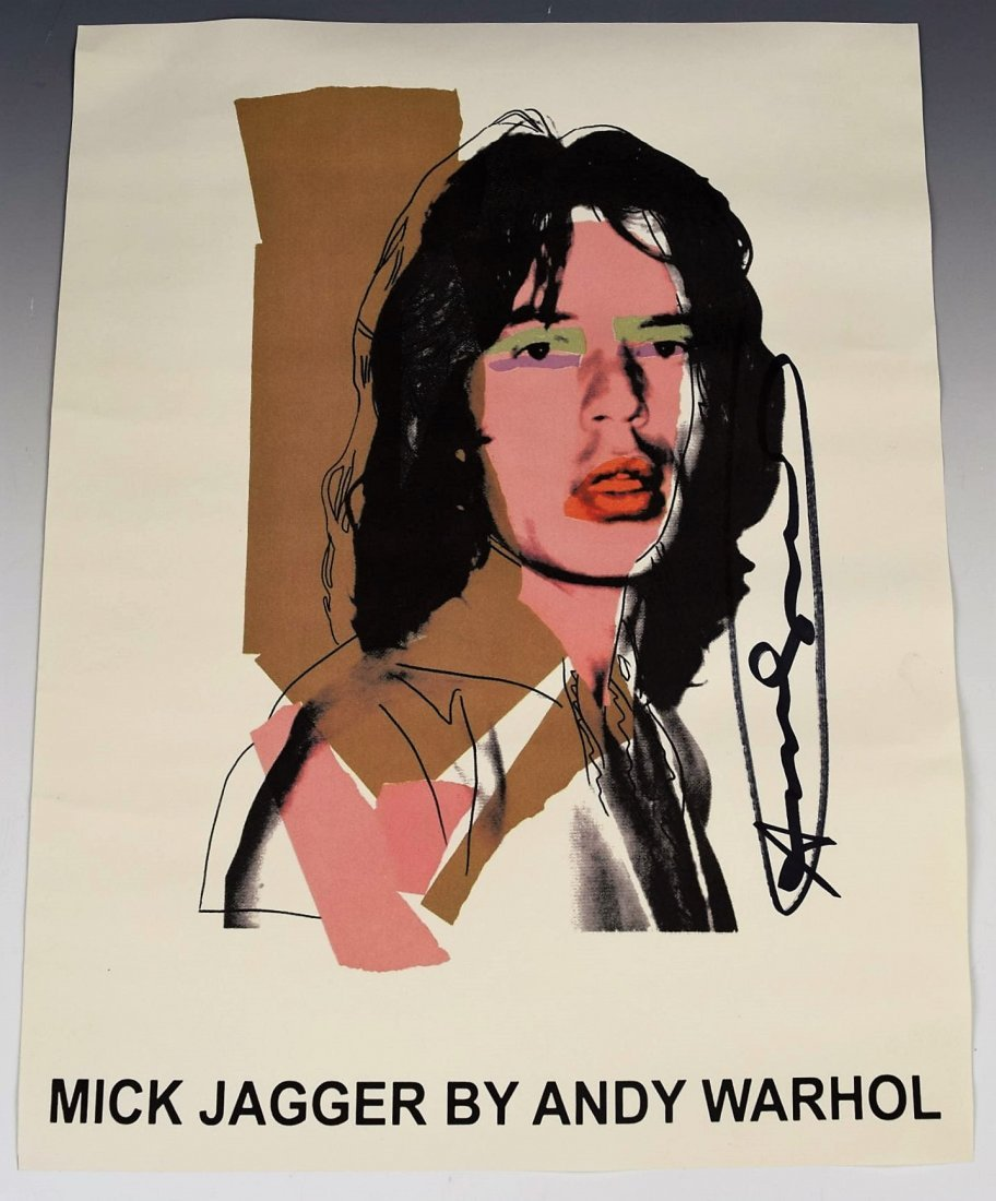 Andy Warhol Mick Jagger Signed Poster