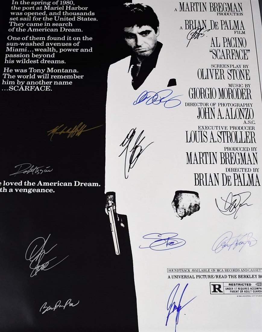 Scarface Cast Signed Movie Poster - 2