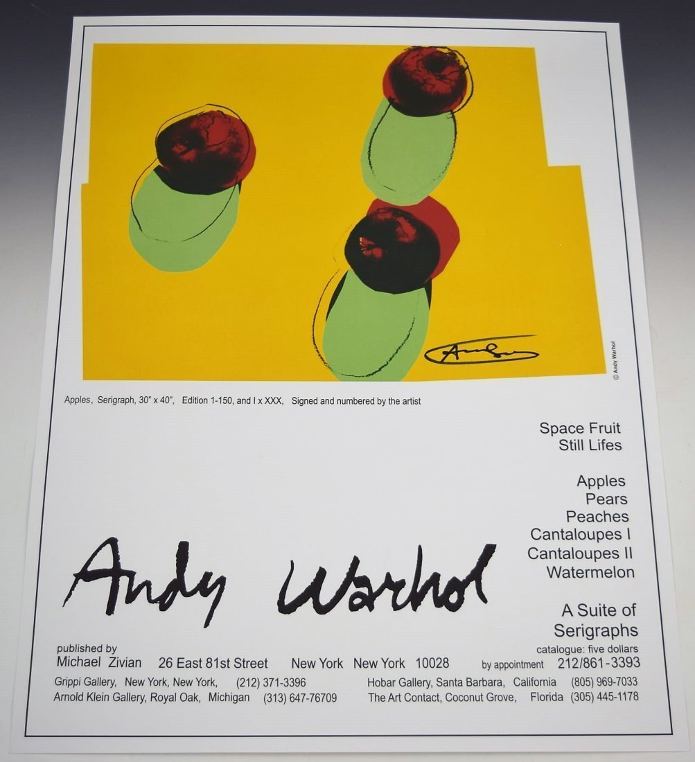 Andy Warhol Signed Apples Poster