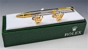 Rolex Cufflinks and Pen Set