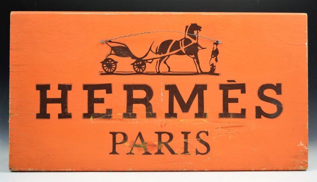 Vintage Hermes Wooden Sign - 2