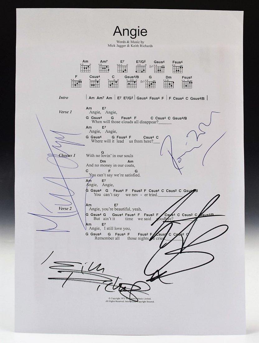 Rolling Stones Autograph Music Sheet