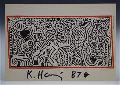Keith Haring Signed Postcard
