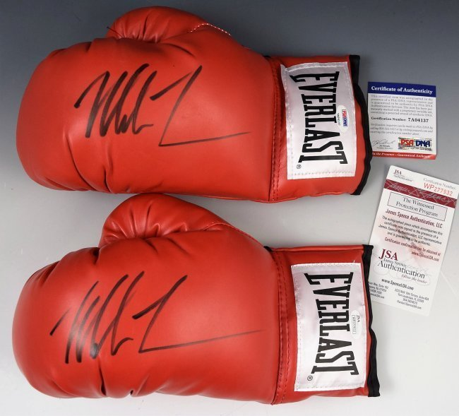 2 Mike Tyson Gloves Autographed