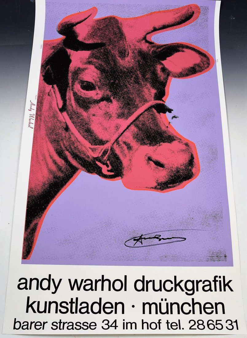Andy Warhol Signed Cow Poster