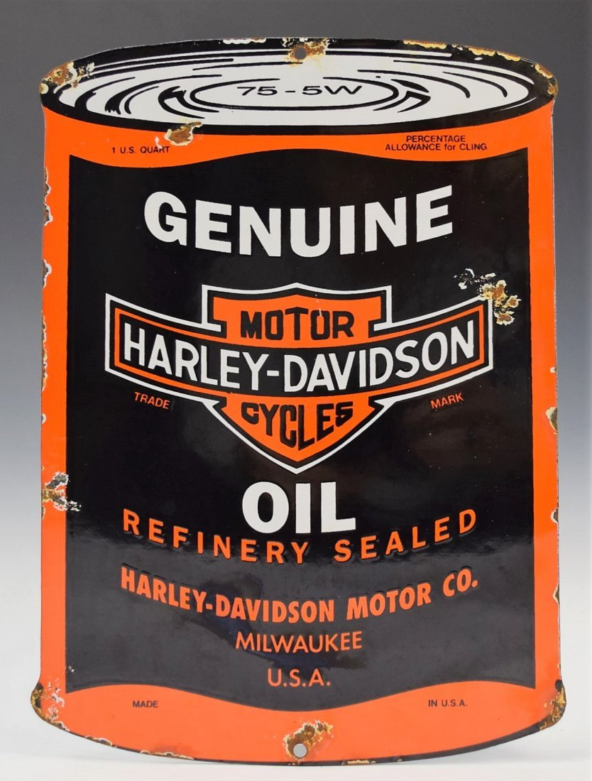 Vintage Genuine Harley Davidson Oil Porcelain Sign