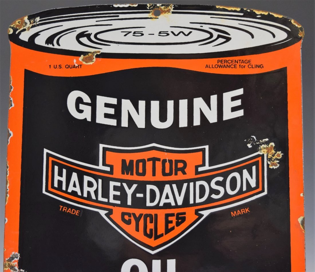 Vintage Genuine Harley Davidson Oil Porcelain Sign - 2