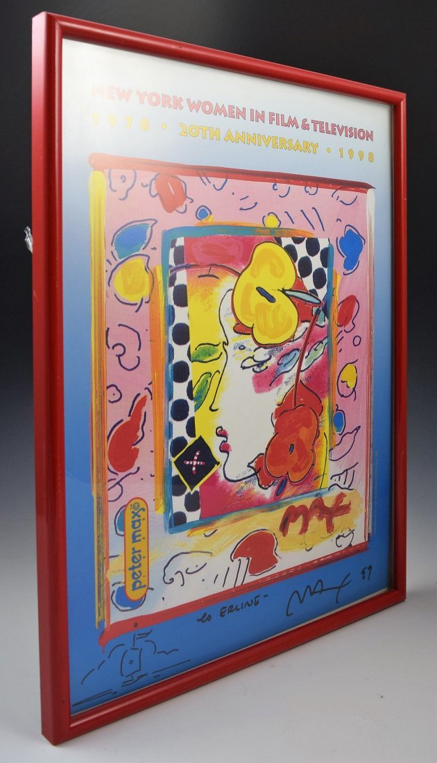 Peter Max Signed Poster with Drawing
