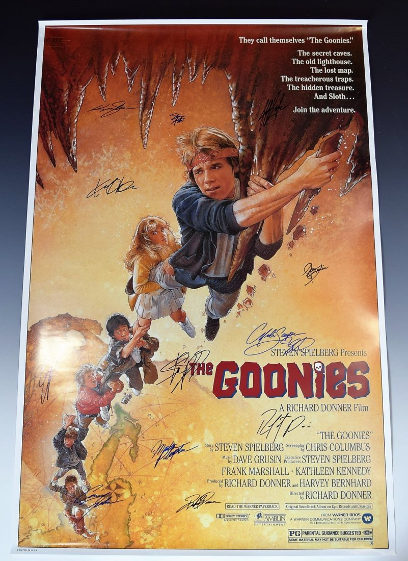 Goonies Cast Signed Movie Poster