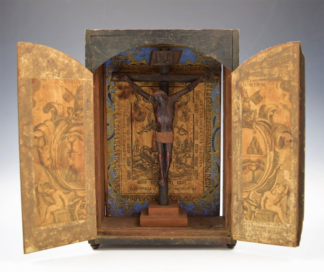 18th C. Spanish Colonial Wood Crucified Christ on Cross
