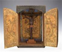 18th C Spanish Colonial Wood Crucified Christ on Cross