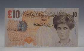 Banksy Signed Di Faced Tenner 10 Pound Note