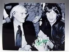 Andy Warhol, Mick Jagger Signed Photograph
