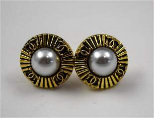 Chanel Button Earrings