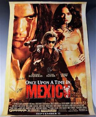 Once Upon A Time In Mexico Cast Signed Movie Poster