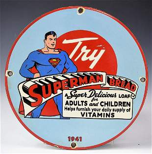 Superman Bread 1941 Porcelain Sign