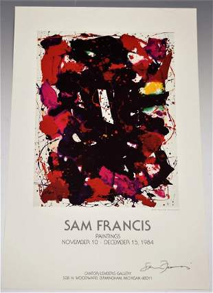 Sam Francis Signed Poster