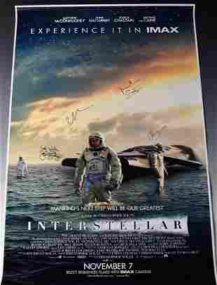 Interstellar Cast Signed Movie Poster
