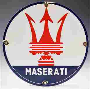 Vintage Maserati Porcelain Sign
