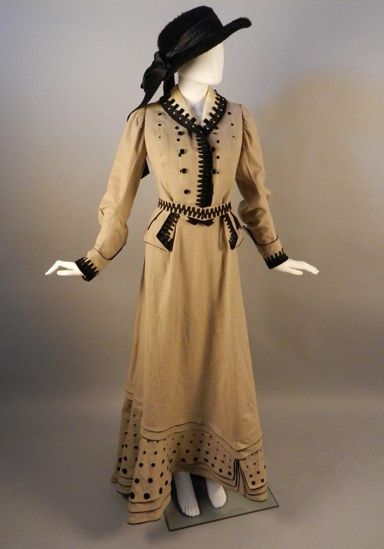 Fancy Appliqued Wool Promenade Suit, C. 1904